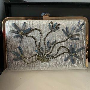 Handbags - Silver gold frame clutch with natural blue quartz
